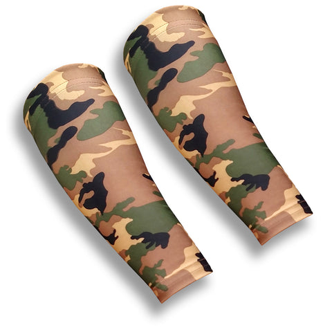 Green Camo Pattern Forearm Sleeves to Cover Bruises