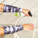 Grey Camo Forearm Protective Sleeves for Elderly Skin