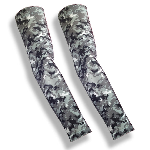 Grey Digital Camo Full Arm Protection for Elderly Skin