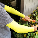 Neon Yellow Full Arm Protection Thinning Skin Sleeves