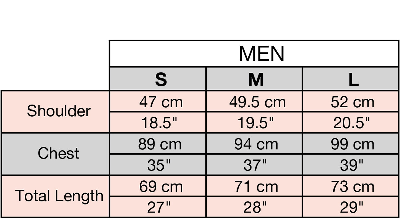 Tamga Size Chart for men