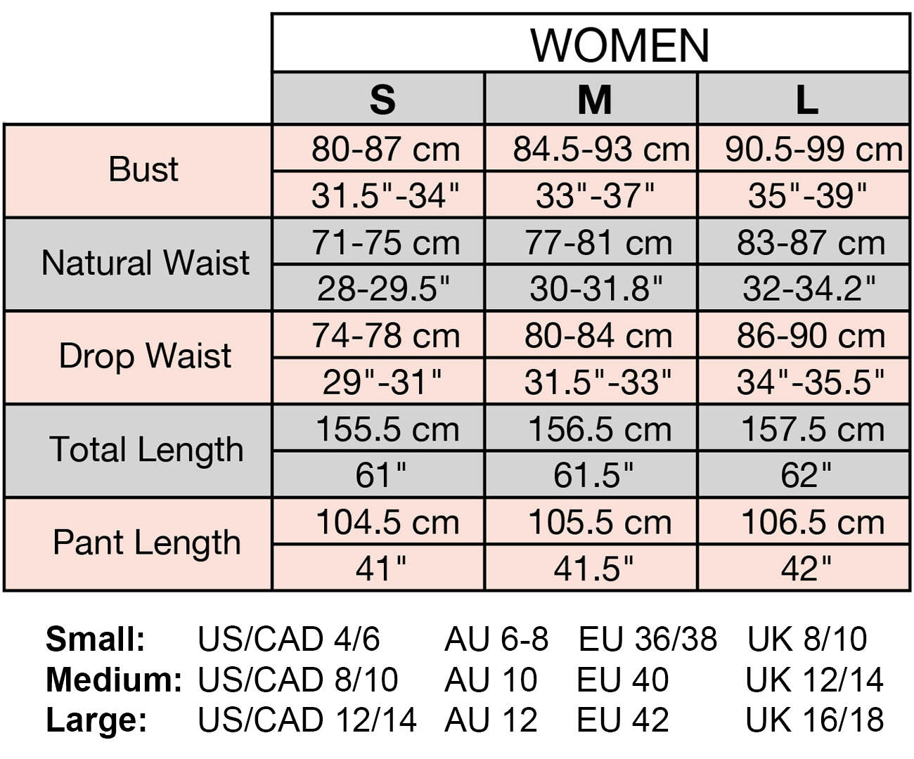 Tamga Size Chart for women