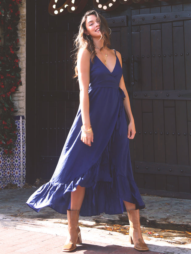 Adinda Wrap Dress in Navy