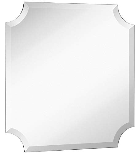 Large Beveled Scalloped Edge Square Wall Mirror | 1 inch Bevel Curved Corners Squared Mirrored Glass Panel for Vanity, Bedroom, or Bathroom Hangs Horizontal & Vertical Frameless (24
