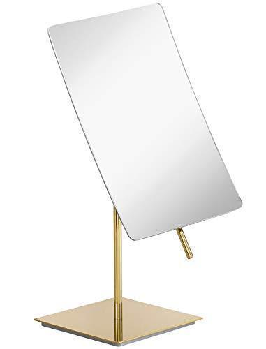 3X Magnified Modern Rectangle Vanity Makeup Mirror Gold