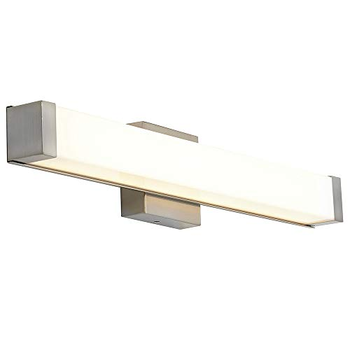 New Squared Capped End Modern Frosted Bathroom Vanity Light Fixture | Contemporary Sleek Dimmable LED Rectangular 24