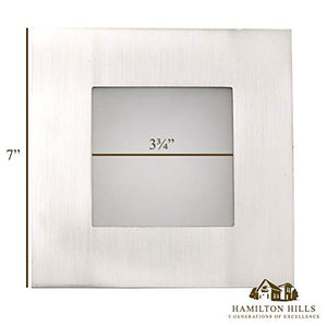 "Square Modern Flush Mount Recessed LED Light | Dimmable 3000K | 7"" Brushed Nickel"