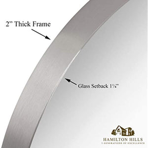 "Rounded Circle Deep Set Brushed Metal Silver Wall Mirror (18"" Round)"