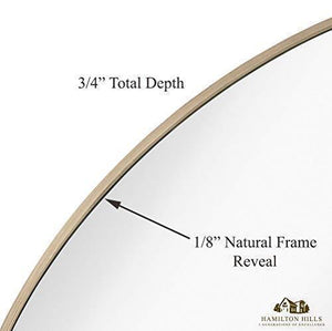 "Hamilton Hills Contemporary Thin Natural Wood Edge Circular Wall Mirror | Glass Panel Rounded Circle Design Vanity Mirror (30"" Round)"