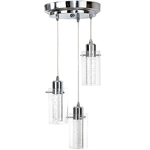 Polished Bubble Glass Hanging Pendant Light Fixture