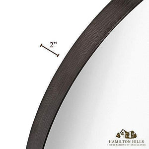 "Circle Deep Set Metal Round Frame Mirror Black (24"")"
