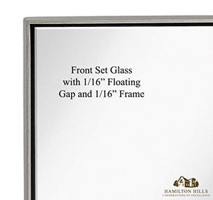 "Contemporary Brushed Metal Wall Mirror | Glass Panel Brushed Silver Framed Squared Corner Deep Frame Front Set Glass Design | Mirrored Rectangle Hangs Horizontal or Vertical (24"" x 36"")"
