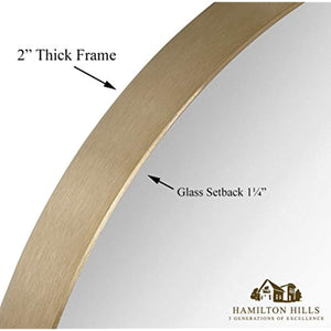 "Circle Deep Set Metal Round Frame Mirror Gold (18"")"