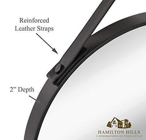 "Hanging Black Leather Strap Metal Circular Wall Mirror with Chrome Accents (24"" Round)"