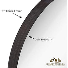 "Load image into Gallery viewer, Rounded Circle Deep Set Brushed Metal Black Wall Mirror (18"" Round)"