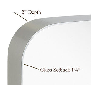 "Rounded Corner Deep Set Brushed Metal Silver Framed Wall Mirror (16"" x 24"")"