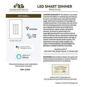 Smart Dimmer LED Wall Switch with White Faceplate Compatible with Alexa and Google Home No Hub Required