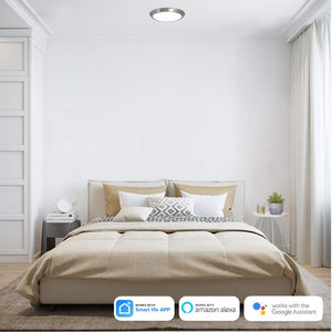 "Round Smart Flush Ceiling Light LED Disc Shaped Dimmable Lighting Fixture 12"" Brushed Nickel Compatible with Alexa and Google Home"