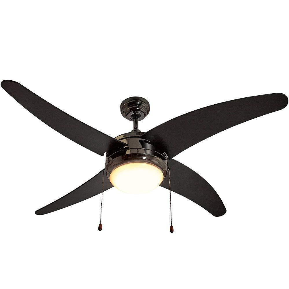 Ceiling Fan with Light - LED Light 4 Curved Blades 50