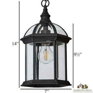 Classical Outdoor Hanging Chandelier | Black Metal with Clear Glass
