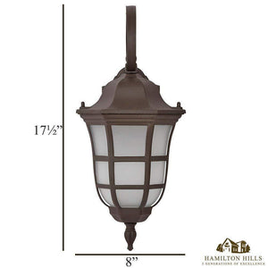 Traditional Gooseneck Downward Outdoor Wall Sconce Light | Classical Matte Bronze Finish with Frosted Glass