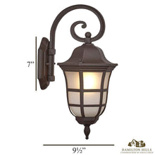 Load image into Gallery viewer, Traditional Gooseneck Downward Outdoor Wall Sconce Light | Classical Matte Bronze Finish with Frosted Glass