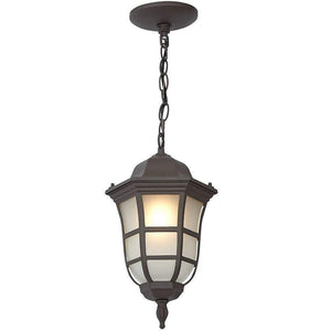 Traditional Gooseneck Hanging Outdoor Chandelier Light | Classical Matte Bronze Finish with Frosted Glass