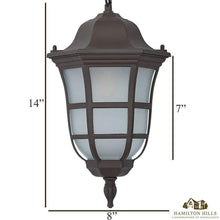 Load image into Gallery viewer, Traditional Gooseneck Hanging Outdoor Chandelier Light | Classical Matte Bronze Finish with Frosted Glass