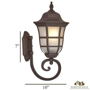 Traditional Gooseneck Upward Outdoor Wall Sconce Light | Classical Matte Bronze Finish with Frosted Glass