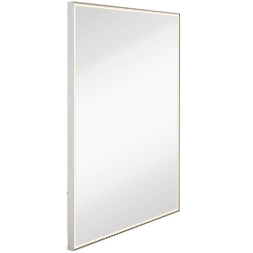 Brushed Metal Mirror with Lights | Lighted Backlit LED Wall Mirror 30