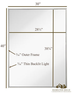 "Brushed Metal Backlit LED Wall Mirror 30"" x 40"""