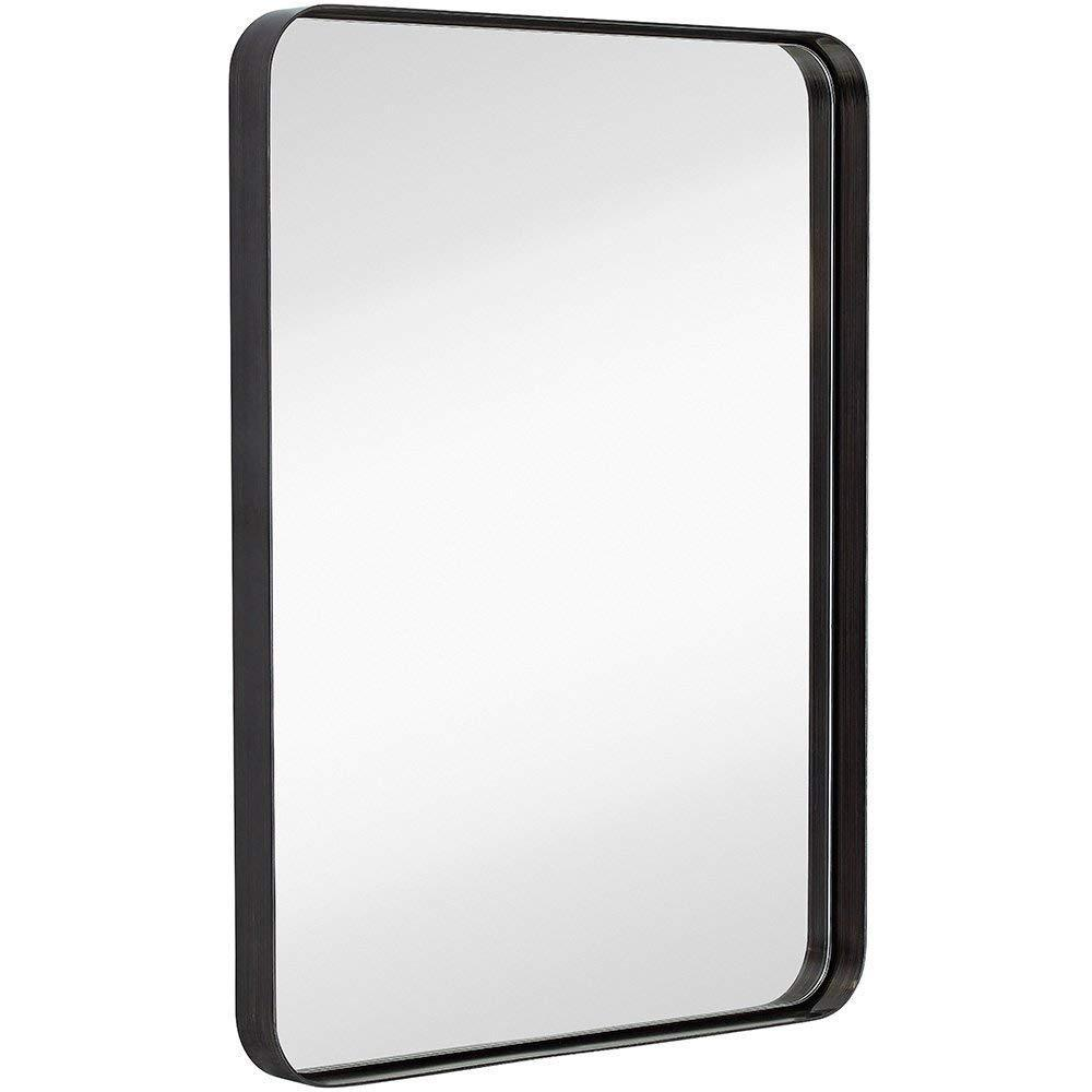 Mirror - Contemporary Brushed Metal Wall Mirror | Black