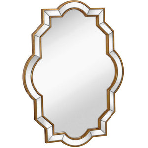 "Mirrored Edge Framed Wall Mirror with Gold Accents 30"" x 40"""