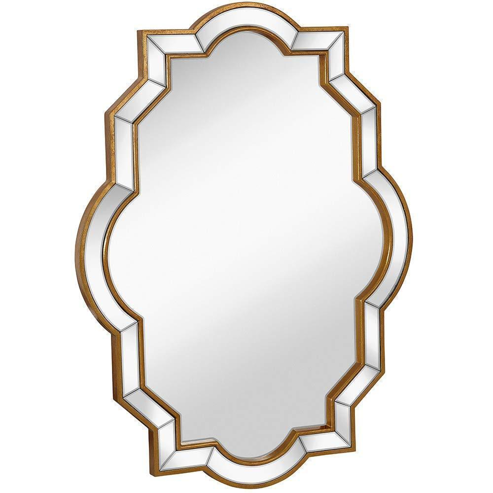 Mirrored Edge Framed Wall Mirror with Gold Accents 30