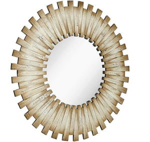 White Washed Round Wood Starburst Circle Mirror