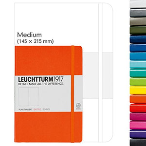 Leuchturm1917 Dotted Journal Medium A5 Bullet Notebook with 9 Pack Black Pigma Fineliner Fine Tip Brush Journaling Pens Set (Dotted, Orange)