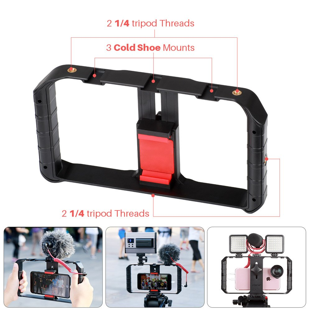 Ulanzi U Rig Pro Phone Video Stabilizer - Filmmaking Case Smartphone Video Rig Grip Tripod Mount for Videomaker Film-Maker Video-grapher Compatible for iPhone Xs XS Max XR iPhone X 8 Plus Samsung