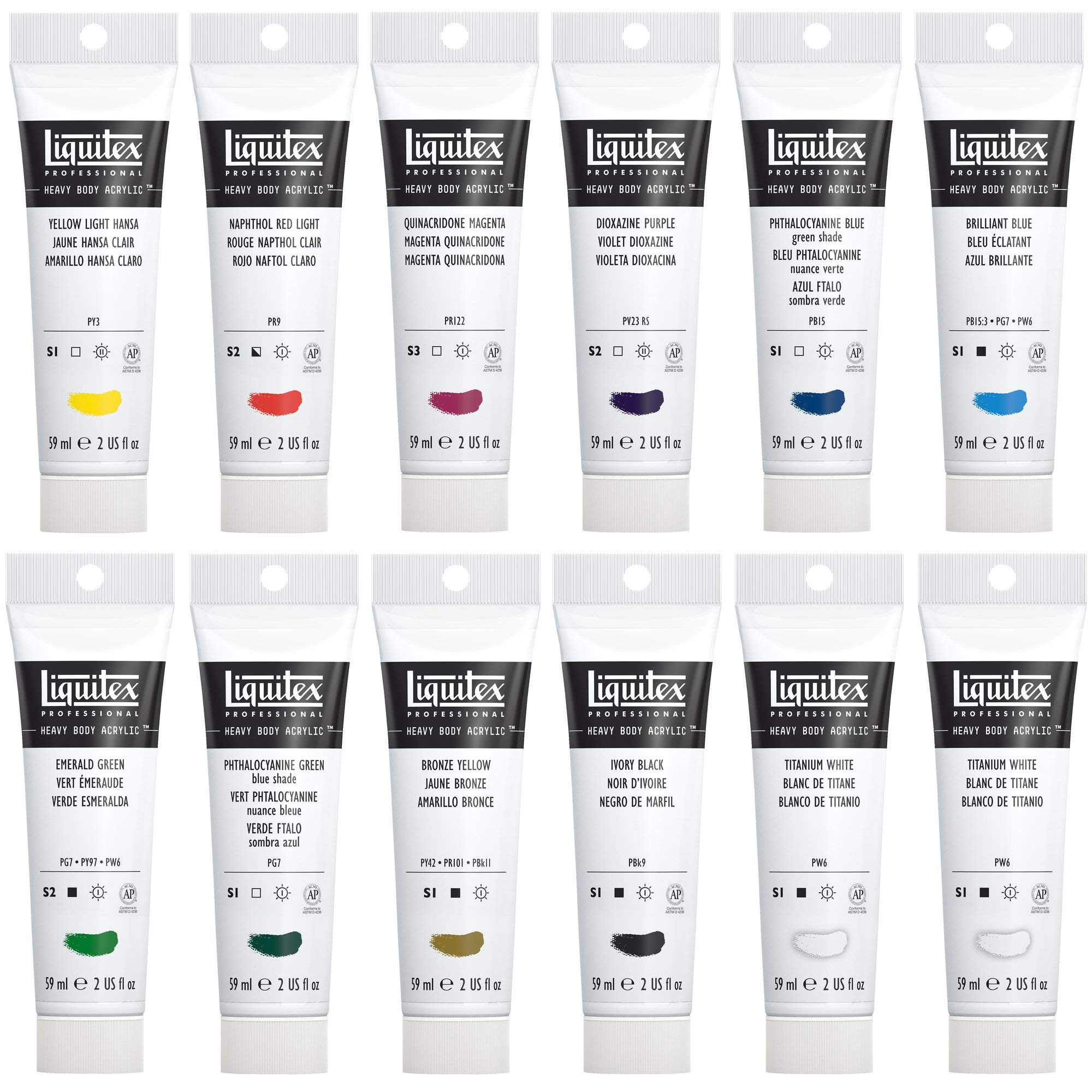 Liquitex Professional Heavy Body Acrylic Paint Classic Set, 12 Colors