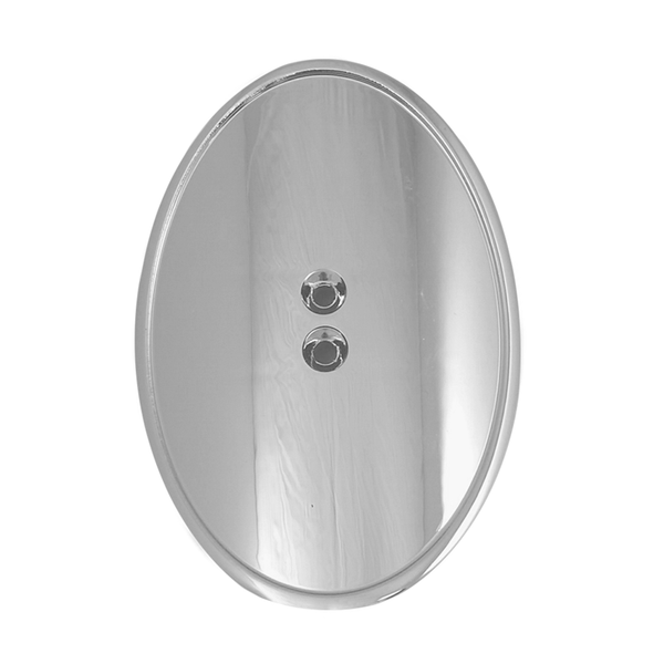 Tap Handle Shield, Curved Oval, Silver Plated Finish