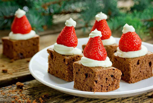 Santa Hat Mini Brownies