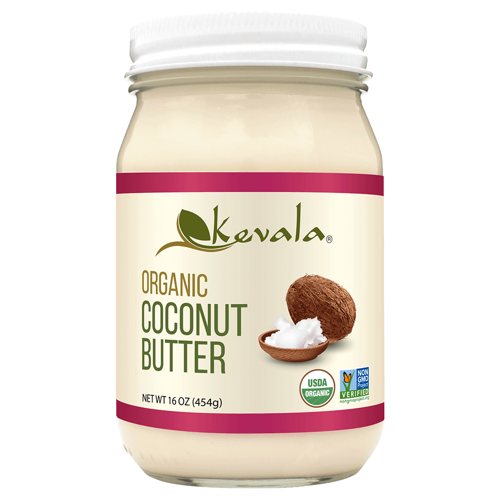Kevala Organic Coconut Butter is smooth, silky, with a touch of sweetness, made with 100% organic whole coconut. Does not contain preservatives or any other additives.