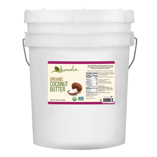 Kevala Organic Coconut Butter Bulk. Made with 100% organic whole coconut. Does not contain preservatives or any other additives.