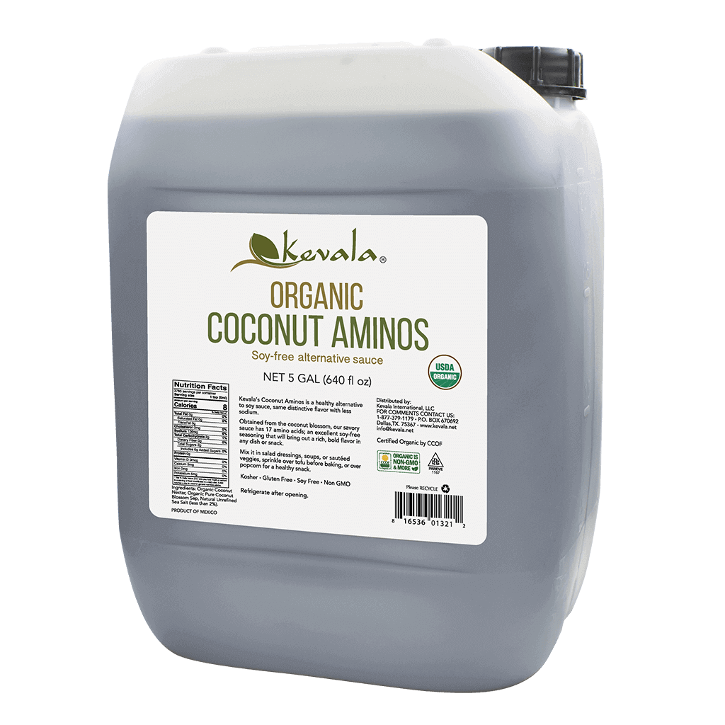 Kevala Organic Coconut Aminos BULK. Soy-free coconut aminos sauce with only half the sodium of regular soy sauce.