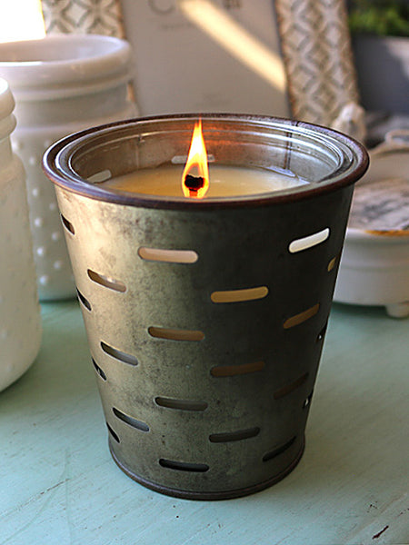 Decorating with Olive Bucket Candles