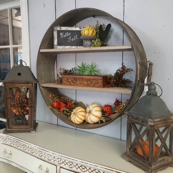 Reclaimed Drum Hanging Shelf