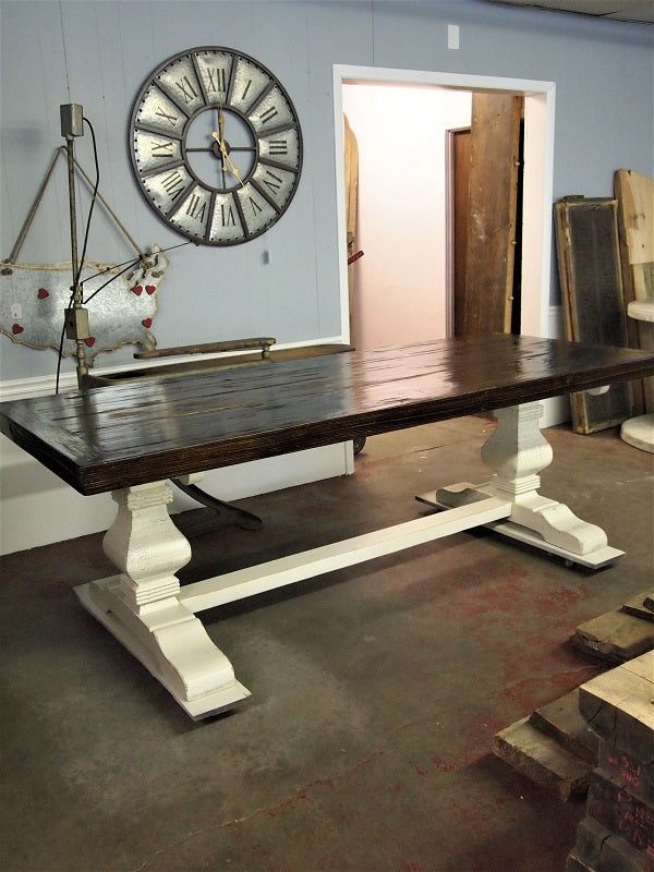 Before And After Dark Walnut Table With Distressed Base U2013 REVIVED Furniture  And Home Decor