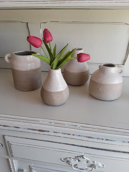 Small Cream & Tan Ceramic Vase