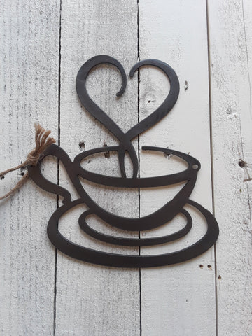 Metal Coffee Cup with Heart