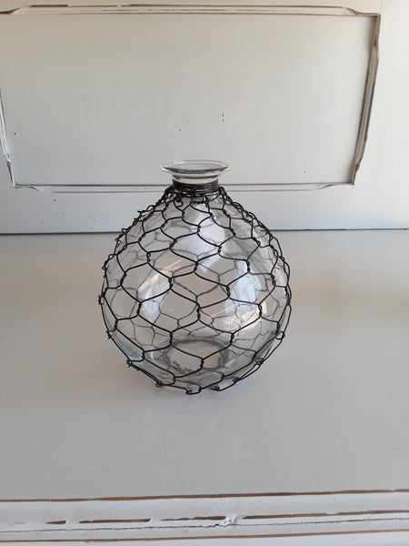 Glass Bottle w/ Wire Mesh