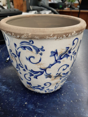 Small Blue & White Distressed Vase